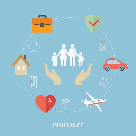 vida: Concepto de iconos de seguros. Vector Diseño plano para la web