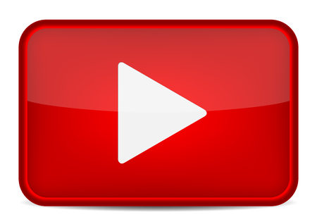 Red play button. Vector icon