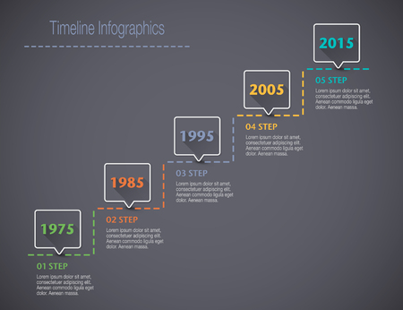 chronological: Timeline Infographic with pointers and text with a long shadow Illustration