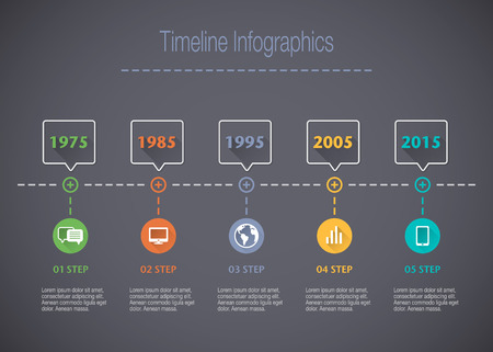 decade: Timeline Infographic with pointers and text with a long shadow Illustration