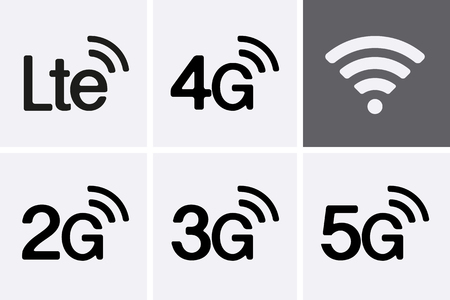 LTE, 2G, 3G, 4G and 5G technology icon symbols. Vector