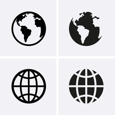 round icons: Earth Globe Icons. Vector