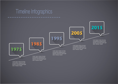 Timeline Infographic with pointers and text with a long shadow Illustration