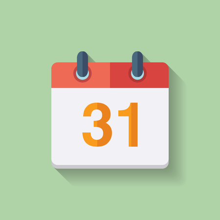 31th: Flat vector calendar icon with the date 31th