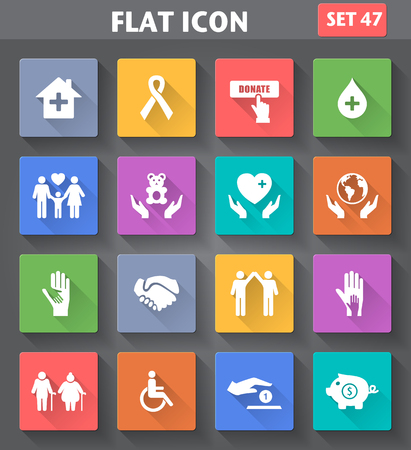 Vector application Charity and Relief Work Icons set in flat style with long shadows.
