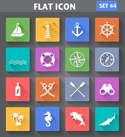 paddle wheel: Vector application Nautical Icons set in flat style with long shadows. Illustration