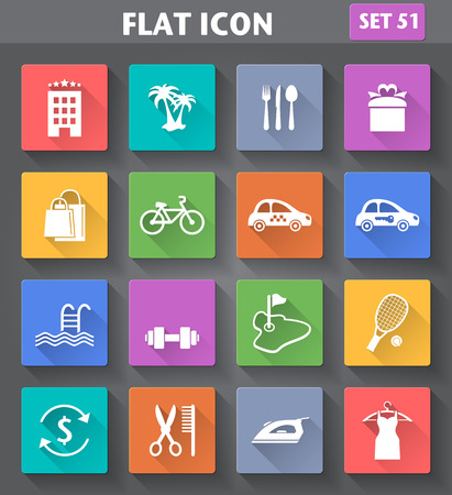 concierge: Vector application Hotel Services and Facilities Icons. Set 3 in flat style with long shadows.