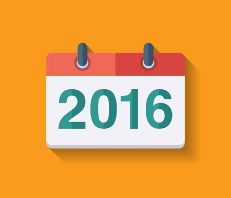 Flat vector calendar icon 2016. New year 2016