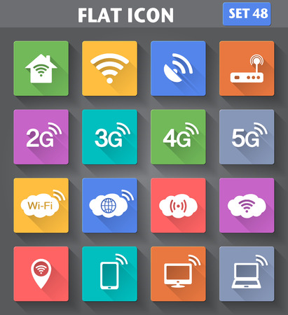 4g: Vector application Wireless and Wifi icons. 2G, 3G, 4G and 5G technology symbols. Icons set in flat style with long shadows.