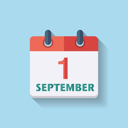 calendar september: Flat vector calendar icon with the date 1th september Illustration