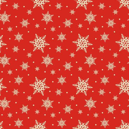 retro design: Seamless red pattern with snowflakes. Vector