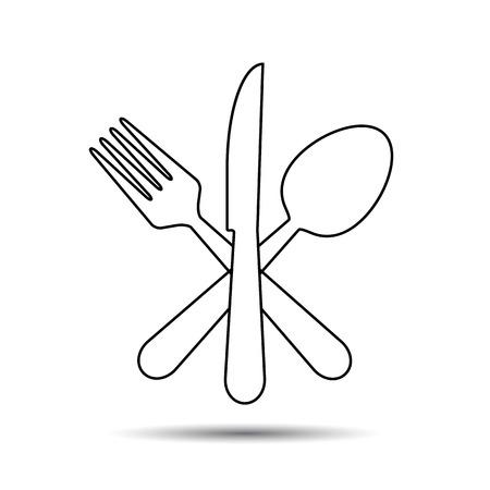 Coltello, forchetta e lo stile della linea sottile cucchiaio. Vettore - croce Archivio Fotografico - 47618743