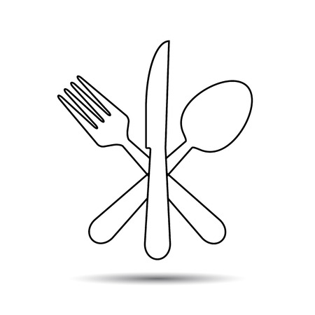 knife and fork: Knife, Fork and Spoon thin line style. Vector - cross