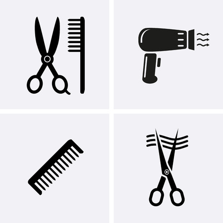 barber scissors: Barber Scissors Icons. Hairdresser Icons for web