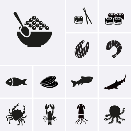 caviar: Seafood Icons. Vector for web Illustration
