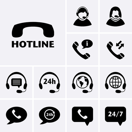 assistance: Hotline Support Icons. Vector for web