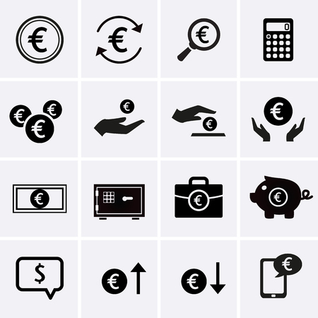 money icons: Euro Finance and Money Icons. Vector for web