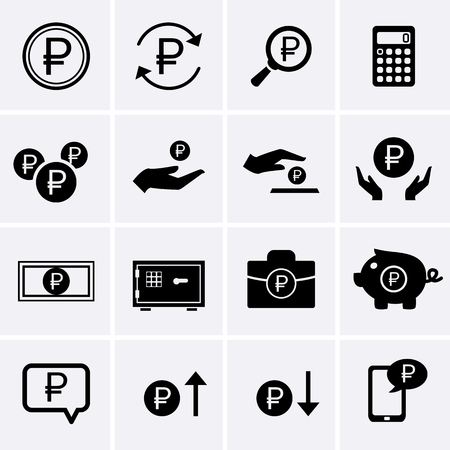 money icons: Ruble Finance and Money Icons. Vector for web