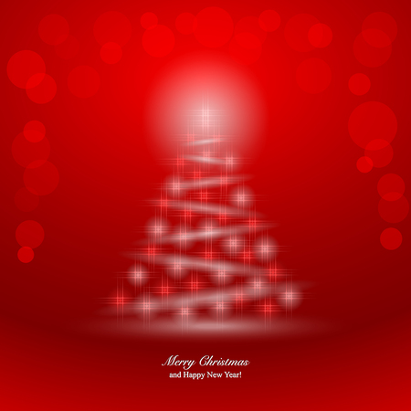 spangle: Christmas Background with magic Christmas tree. illustration Illustration