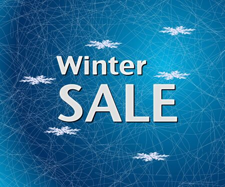 icy: Winter Sale inscription on icy blue background with snowflakes. Illustration