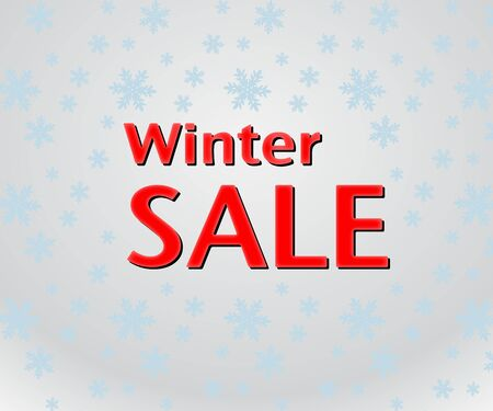 last year: Winter Sale inscription on bright grey background with snowflakes. Illustration