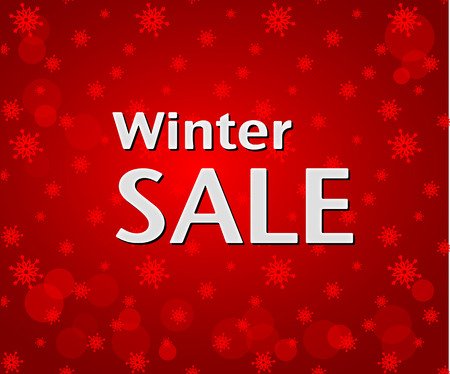 and in winter: Winter Sale inscription on bright red background with snowflakes. Illustration