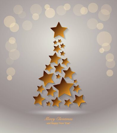 christmas star background: Christmas Tree with star. Christmas background Illustration