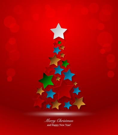 Rbol de navidad con la estrella. Fondo de la Navidad Foto de archivo - 48481572