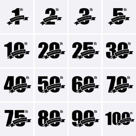 Anniversary Icons. Vector logo for design Illustration