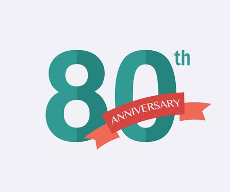 jubilees: 80th years Anniversary Icon. Vector logo for design