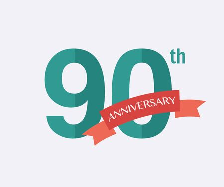 90th: 90th years Anniversary Icon. Vector logo for design