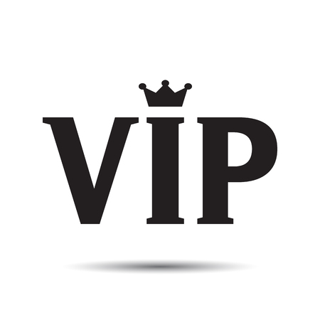 premium member: VIP abbreviation icon, letters logo with crown Illustration