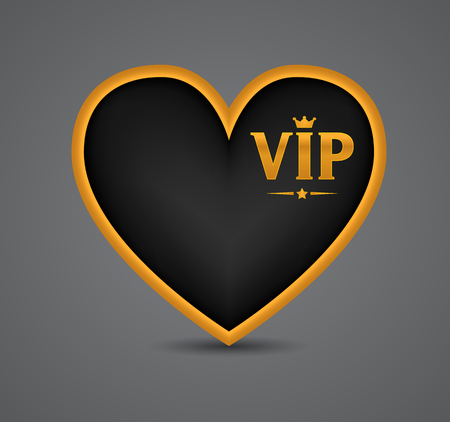 heart and crown: VIP heart, abbreviation icon, letters logo with crown