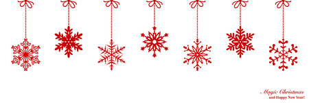 christmas snowflakes: Christmas border with snowflakes