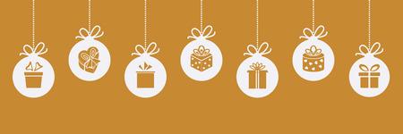 gift season: Christmas border with ball with gift box