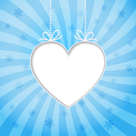 Christmas blue background with snowflakes and place for text. Heart frame. Vector