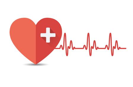 electrocardiograma: Corazón con latido del corazón, electrocardiograma. ilustración vectorial