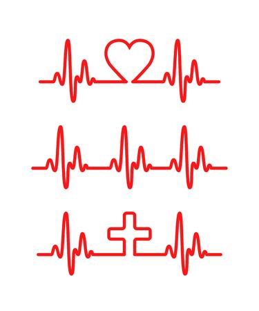 rhythm: Heart cardiogram lines. Rhythm heart. Vector Illustration
