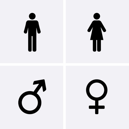 woman male: Restroom Icons: man, woman, Male and female symbol Illustration