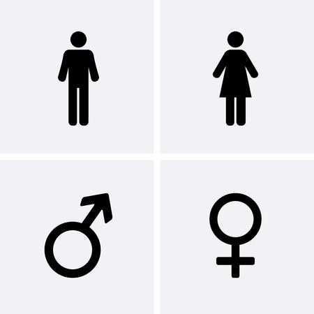 Restroom-Symbole: ein Mann, eine Frau, Männliche und weibliche Symbol
