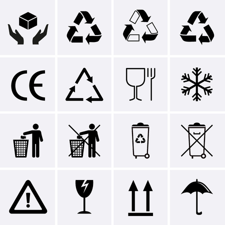 recycling symbols: Recycling Icons. Waste Recycling. Packaging Symbols. Vector for web