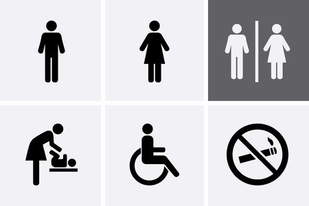 Toalety Ikony: mężczyzna, kobieta, osoby symbolem wózka inwalidzkiego i zmieniających się dziecka, zakaz palenia
