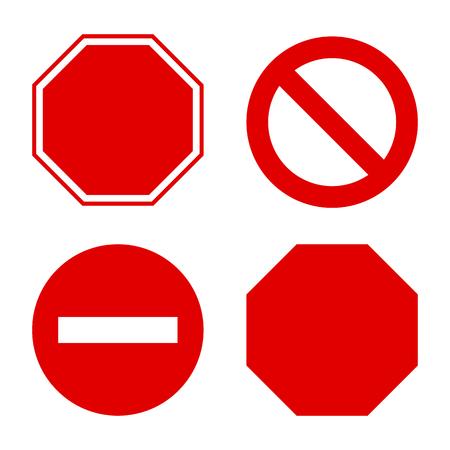 Blank Stop sign, set. Vector Illustration