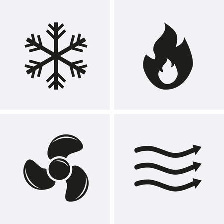 HVAC (heating, ventilating, and air conditioning) Icons. Heating and Cooling technology. Vector Ilustração