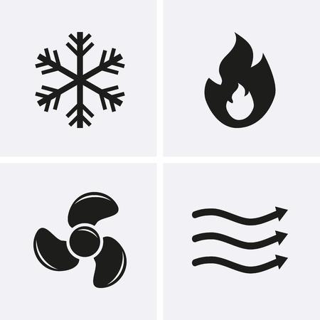 HVAC (verwarming, ventilatie en airconditioning) Icons. Verwarming en koeling technologie. Vector