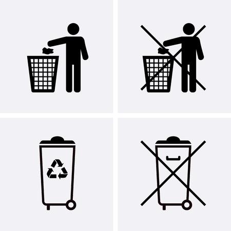 Abfalleimer Icons. Müllwiederverwertung. Verunreinigen Sie nicht. Vektor für Web