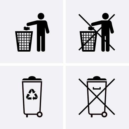 Trash Can Icons. Waste Recycling. Do Not Litter. Vector for web 矢量图像