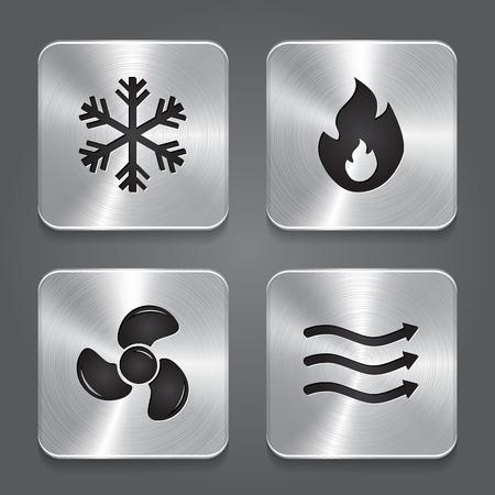 HVAC (Heizung, Lüftung und Klimaanlage) Icons. Heiz- und Kühltechnik. Metallknopf-Symbol. Vektor Illustration