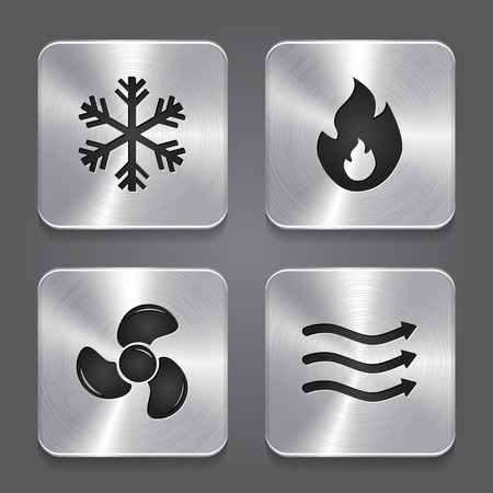 HVAC (heating, ventilating, and air conditioning) Icons. Heating and Cooling technology. Metal button icon. Vector Vettoriali