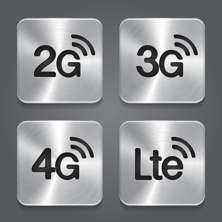 3g: 2G, 3G, 4G and LTE technology symbols. Metal button icon. Vector for web